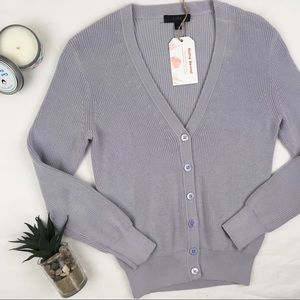 J.Crew Rib Knit Boyfriend Button-up Sweater